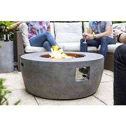 Small Image of La Hacienda Orlando Magnesia Smooth Cement Effect Gas Firepit 40,000 BTU