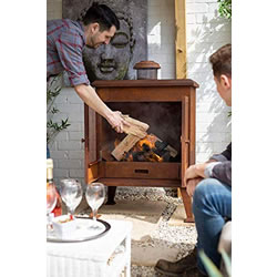 Extra image of La Hacienda Volantis Oxidised Steel Cabinet Outdoor Fireplace