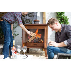 Small Image of La Hacienda Volantis Oxidised Steel Cabinet Outdoor Fireplace