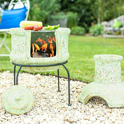 Small Image of La Hacienda Clay Chiminea Star Flower With Bbq Grill