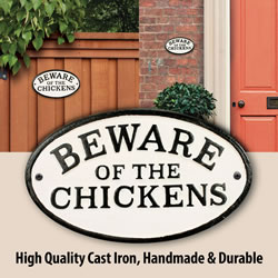 Small Image of Beware Of The Chicken Cast Iron Oval