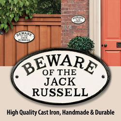Small Image of Beware Of The Jack Russell Cast Iron Oval