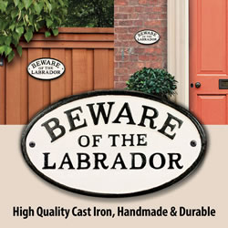 Small Image of Beware Of The Labrador Cast Iron Oval