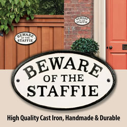 Small Image of Beware Of The Staffie Cast Iron Oval