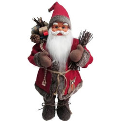 Small Image of Cheng Kuo 61cm Standing Santa with a Red Felt Overcoat and Sack (CK606-D0399)