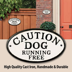 Small Image of Caution Dog Running Free Cast Iron Oval