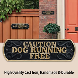 Small Image of Caution Dog Running Free Cast Iron Landscape