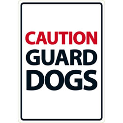 Small Image of Caution Guard Dogs A5 Plastic Sign