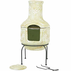Small Image of Large Clay Flower Pizza Chiminea w. BBQ Grill Patio Heater Wood Burner