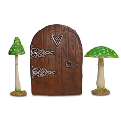 Small Image of Fairy Garden Starter Kit with Decorative Door & Pair of Green Mushrooms