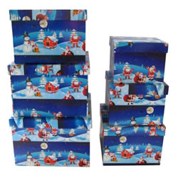 Small Image of Christmas Nestled Gift Present Box Set of 7 - Design 1