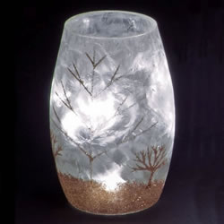 Small Image of SnowTime 13cm Lit Glass Vase with Glittery Gold Winter Scene (IF01659G)