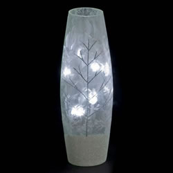 Small Image of SnowTime 30cm Slim Glass Vase with Glittery Silver Winter Scene (IF01660)