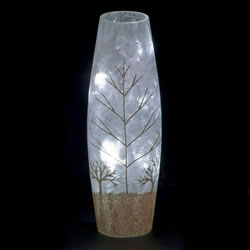 Small Image of SnowTime 30cm Slim Glass Vase with Glittery Gold Winter Scene (IF01660G)
