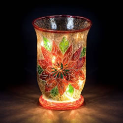 Small Image of SnowTime 16cm Lit Glass Vase with Red Poinsettias (IF01815)