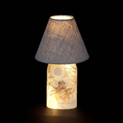 Small Image of SnowTime 61cm Lamp with Glass Base and Snowmen Design (IF01827)