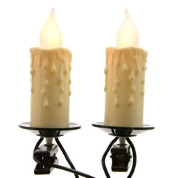 Small Image of Lumineo Green/Clear Indoor Jumbo Candle Lights - 6m (499208)