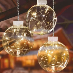 Small Image of Premier 3 x 10cm Balls with Warm White Pin Wire LEDs and Timer (LB151219WW) Christmas Lights