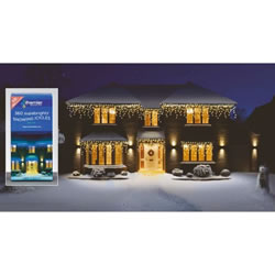 Small Image of Premier 360 Warm White LED Snowing Icicles (LV062394WW) Christmas Lights