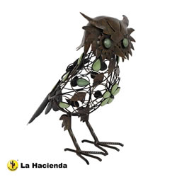 Small Image of La Hacienda Owl Lacquer Glow In The Dark Beaded Metal Animal