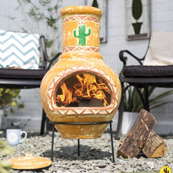 Small Image of La Hacienda Large Cardon Cactus Design Clay Chiminea Patio Heater