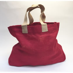 Small Image of 4 x Nutley's Raspberry Red Hessian Bag with Handles Harvesting