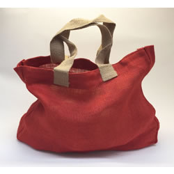 Small Image of 5 x Nutley's Tomato Red Hessian Bag with Handles Harvesting