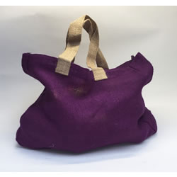 Small Image of Nutley's Aubergine Hessian Bag with Handles Harvesting