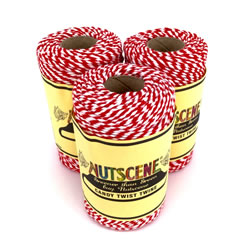 Small Image of 3 x Nutscene Striped Twine 100% Cotton - Red, Green and White