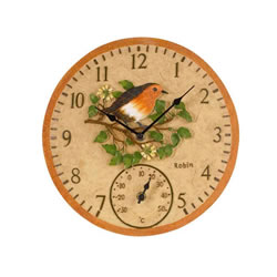 Small Image of Outdoor Robin Wall Clock and Thermometer