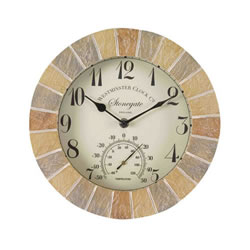 Small Image of Sandstone Stonegate Clock & Thermometer