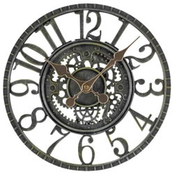 Small Image of Newby Mechanical Verdigris Garden Clock