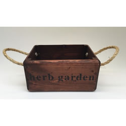 Small Image of Nutley's Small Oak Hand Made Bushel Box Herb Garden Rustic