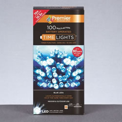Small Image of Premier Decorations 100 Blue LEDs with Timer (LB112383B)