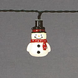 Small Image of Premier Decorations Snowman String Lights with Timer and Warm White LEDs (LB151751)
