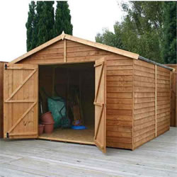 Small Image of 10 x 10 Windowless Overlap Apex Wooden Garden Shed Workshop
