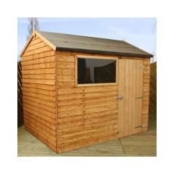 Small Image of 8 x 6 Overlap Single Door Reverse Apex Wooden Garden Shed