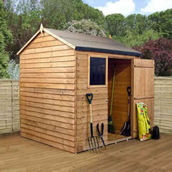 Small Image of 6 x 6 Overlap Single Door Reverse Apex Wooden Garden Shed