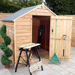 Small Image of 6 x 6 Budget Windowless Wooden Overlap Apex Garden Shed
