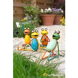 Small Image of La Hacienda Seated Yoga Frogs (Set Of 4) Garden Decorative Animal Frogs Ornament