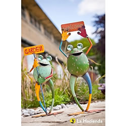 Small Image of La Hacienda Smiling Frogs with Signs Set of Two Garden Decorative Animal Frogs Ornament