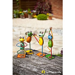 Small Image of La Hacienda Standing Yoga Frogs (Set Of 4) Garden Decorative Animal Frogs Ornament