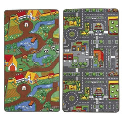 Small Image of Childrens Reversible Roadmap Farmlife Playmat Rug Bedroom Playroom Cars Animal Rugs