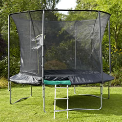 Small Image of TP Genius 10ft Round Trampoline and SurroundSafe Enclosure (TP312)