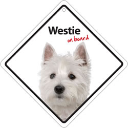 Small Image of Westie On Board Plastic Sign