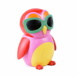 Small Image of Colourful Red Bird in Sunglasses Resin Money Box Savings Bank