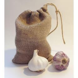 Small Image of 3 Small Hessian Drawstring Garlic Bag Sacks 14 x 20cm: keep bulbs fresher longer