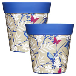 Small Image of 2 x 22cm Blue Birds & Branches Plastic Garden Planter 5L Flowerpot by Hum