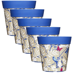 Small Image of 5 x 22cm Blue Birds & Branches Plastic Garden Planter 5L Flowerpot by Hum