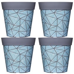 Small Image of 4 x 22cm Blue Geometric Plastic Garden Planter 5L Flowerpot by Hum